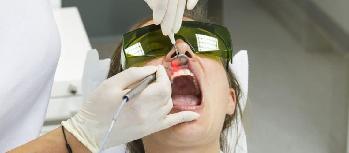 Dental Patient Undergoing Laser Gum Disease Treatment