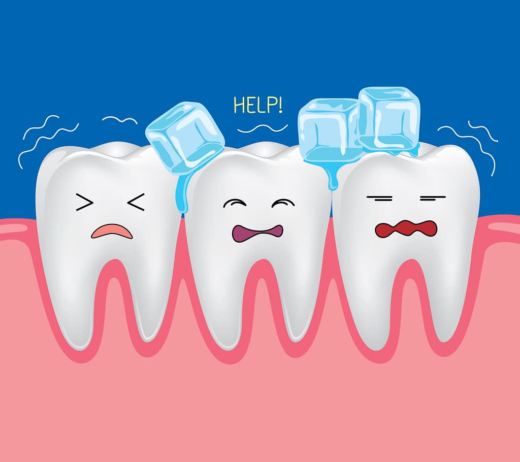 Sensitive teeth that hurt when eating ice as a cartoon