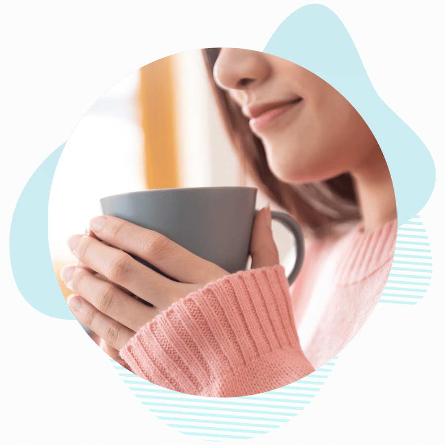 dental patient drinking coffee