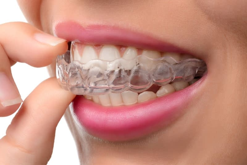 dental patient wearing mouth guard
