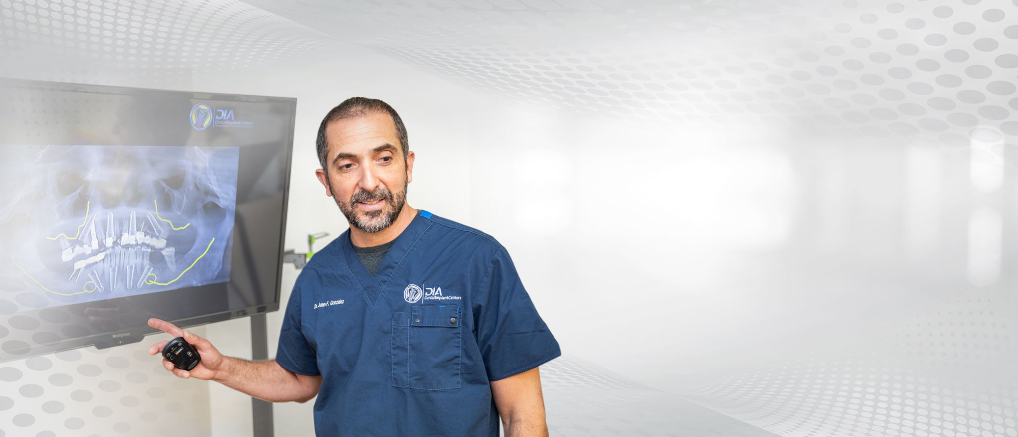 Experienced Dr Gonzalez talking about dental proceedure - Dental Implant Center
