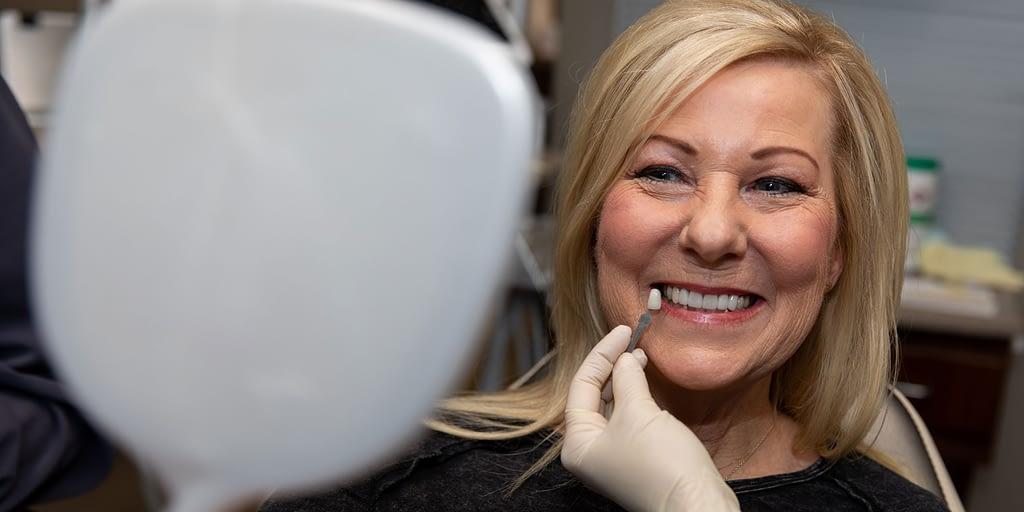 dental patient undergoing smile makeover procedure