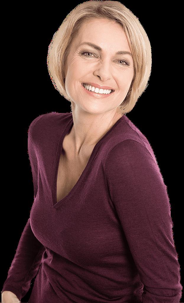 patient smiling after zirconia implant bridge procedure Dana Point CA