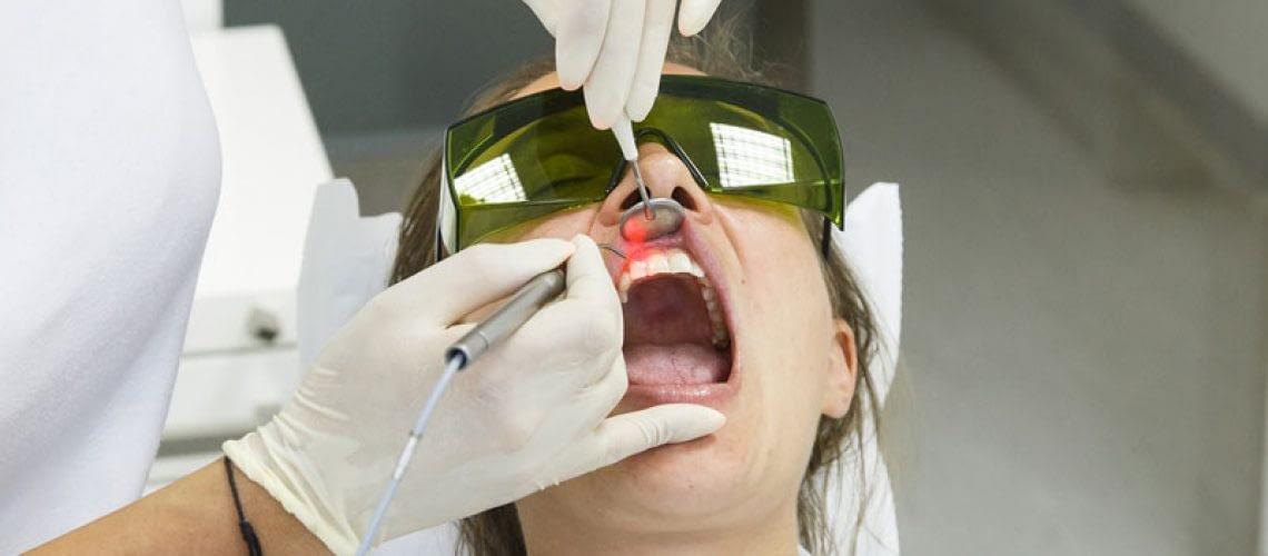 Dental Patient Undergoing Laser Gum Procedure